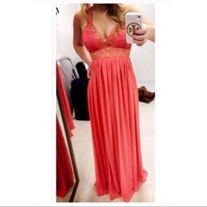 Coral Calvin Klein Prom Wedding Formal Night Dress